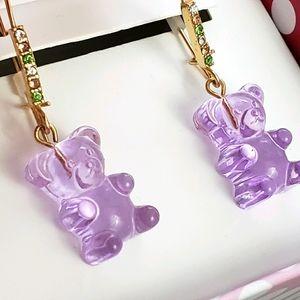 Betsey Johnson Gummy Bear Drop Earrings in Purple